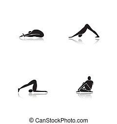 Yoga asanas drop shadow black glyph icons set
