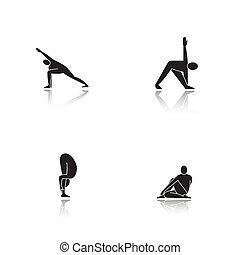 Yoga asanas drop shadow black icons set