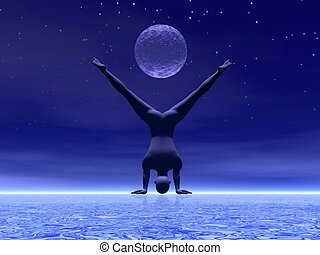 Yoga at moonlight - 3D render - Man practicing yoga under...