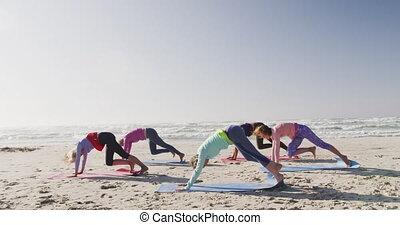 yoga, athlétique, exécuter, plage, femmes