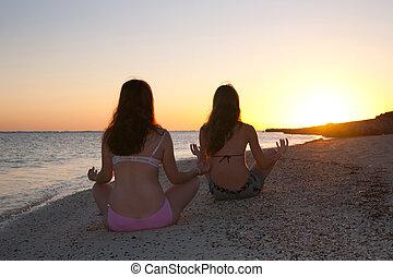yoga, attivo, contro, alba, ragazze