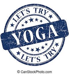 yoga, azul, vendimia, grungy, aislado, redondo, estampilla