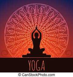 Yoga background. - Ethnic ornament and human silhouette. Eps...