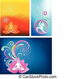 Yoga background set - Three colorful yoga backgrounds