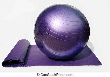 yoga, bal, en, mat