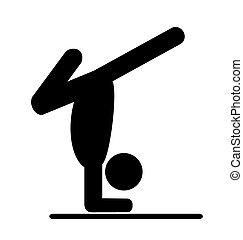 Yoga balance asana people pictogram flat icon isolated on...