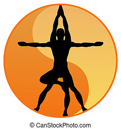 Vector Illustration of the black silhouette of a man balancing in two steps of yoga poses with the yin yang symbol in the background. This could be used as an alternative modern version of the famous Leonardo da Vinci vesuvian man.