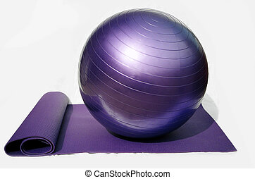 yoga ball and mat - Pilates conditioning ball and yoga mat