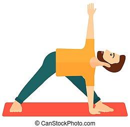 yoga., beoefenen, man