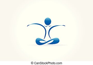 Yoga blue man logo