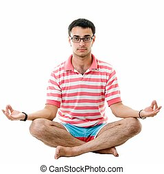 yoga., bonito, homem, meditates.