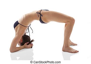 Yoga. Bridge exercise. Asana. Yoga pose. Beautiful woman in...