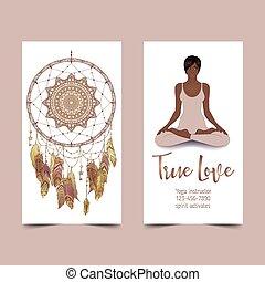 Yoga card design. African American woman in lotus pose. Colorful design template for spiritual retreat or yoga studio. Ornamental business card. Vector illustration.