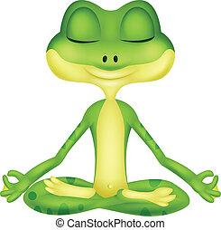 yoga, caricatura, rana