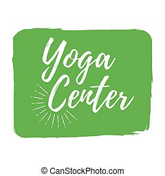 Yoga Center label. Eco style and Wellness Life. Healthy Lifestyle badges. Vector illustration icon with Sunburst