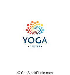 Yoga center logo. Abstract lotus beauty flower. Round digital shape. Colorful circles vector logotype.