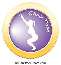 Yoga Chair Pose Purple Icon