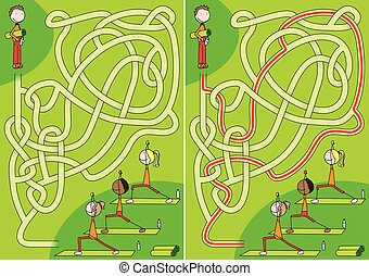 Yoga class maze for kids with a solution