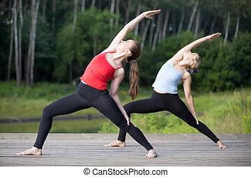 Yoga class: Reverse Warrior Pose