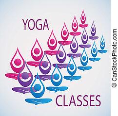 yoga, classes, icône, fond