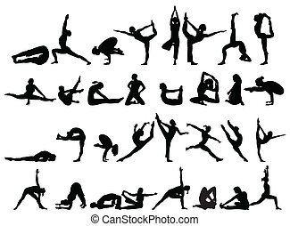 yoga silhouette on white background