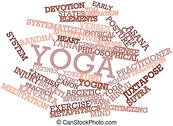 Yoga - Abstract word cloud for Yoga with related tags and...