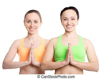 yoga, con, compañero, namaste, gesto
