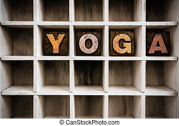 Yoga Concept Wooden Letterpress Type in Drawer
