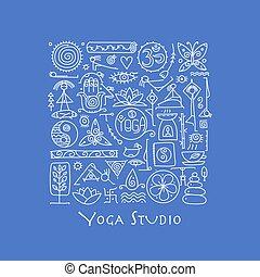 yoga, conception, ton, fond