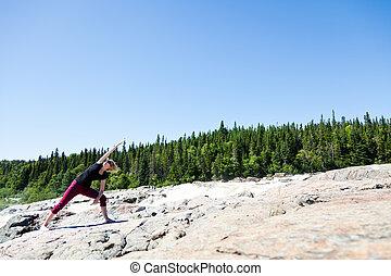 yoga, dans, nature