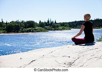 yoga, dans, nature, -, lotus