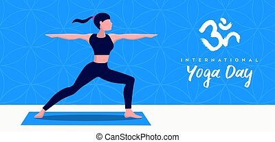 Yoga Day banner of woman in warrior pose
