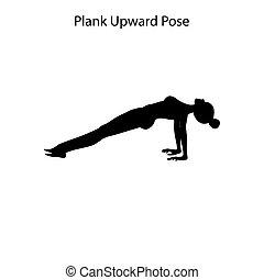 yoga, deska, poza, trening, zdrowy lifestyle, silhouette., zwyżkowy, ilustracja, wektor