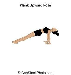 yoga, deska, poza, workout., zdrowy lifestyle, zwyżkowy, ilustracja, wektor
