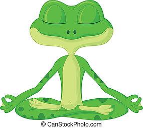 yoga, dessin animé, grenouille