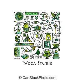 yoga, disegno, tuo, fondo