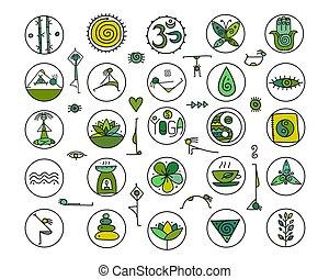 yoga, disegno, tuo, icone