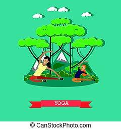 yoga, dla, brzemienne kobiety, pojęcie, wektor, ilustracja, w, płaski, styl