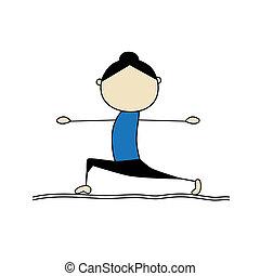 yoga, donna, attivo, atteggiarsi, guerriero