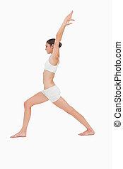 yoga, donna, magro, giovane