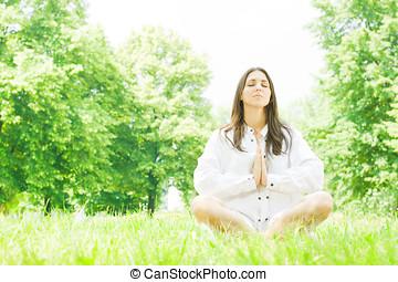 yoga, donna, meditazione, atteggiarsi