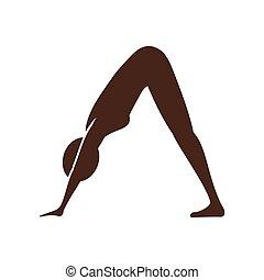 yoga, donna, silhouette