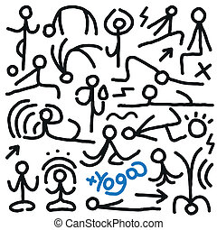 yoga doodles - yoga - set icons in sketch style