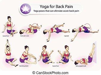 yoga, douleur, dos