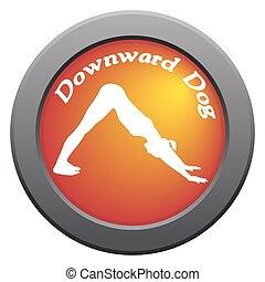Yoga Downward Dog Pose Red Icon