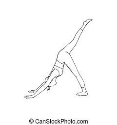 Yoga downward facing three legged dog pose or Svanasana. Female yoga improving health. Vector illustration