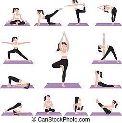 yoga, ejercicios, posturas, set.