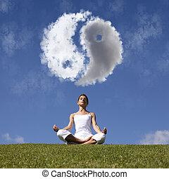 yoga, en, el, naturaleza