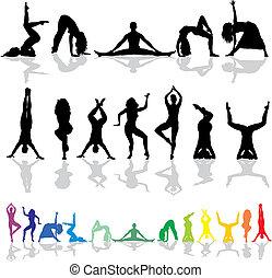 yoga, en, fitness-, vrouw