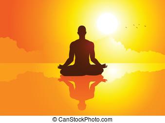 yoga, en, ocaso